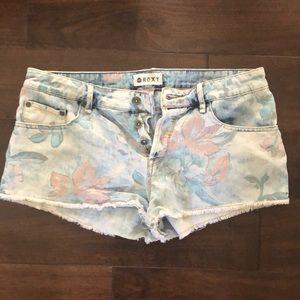 Roxy denim shorts Hawaiian flower print-